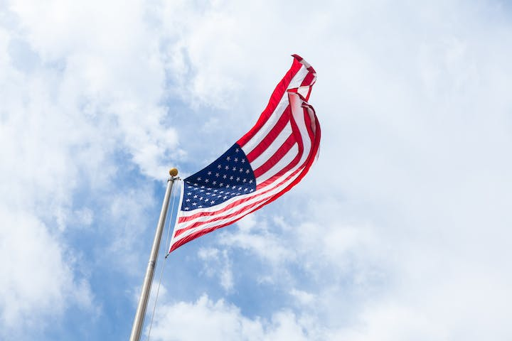 American flag waving in the breeze