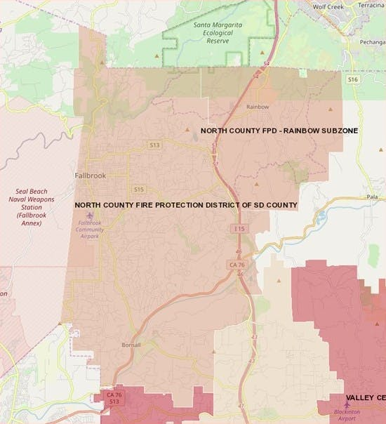 North County Fire Protection District Boundary Map
