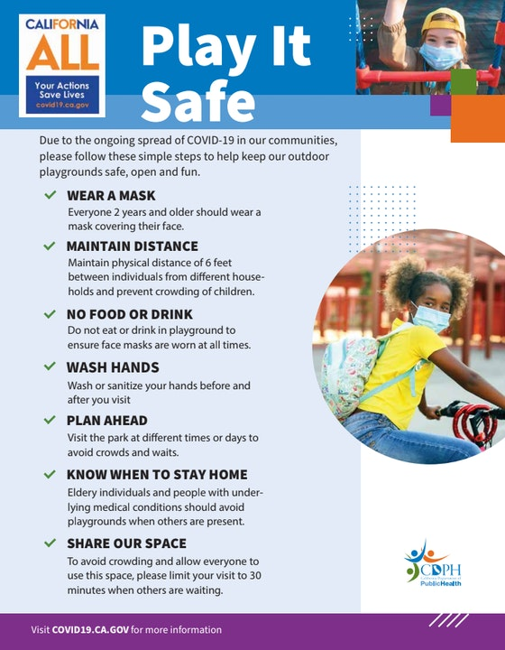 Play it Safe!! Playgrounds OPEN with restrictions per COVID-19 regulations