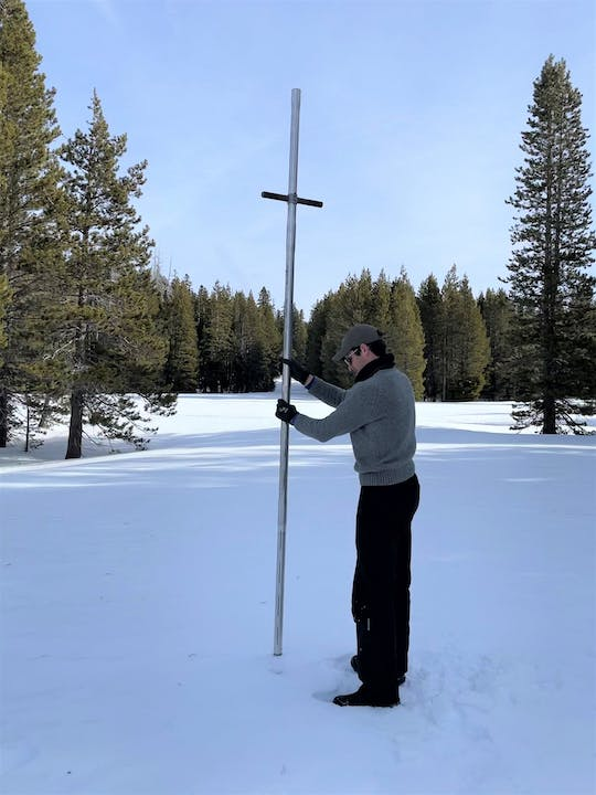 NID Hydrographer Mitch Krieger samples at an English Mountain snow course on Feb. 25.