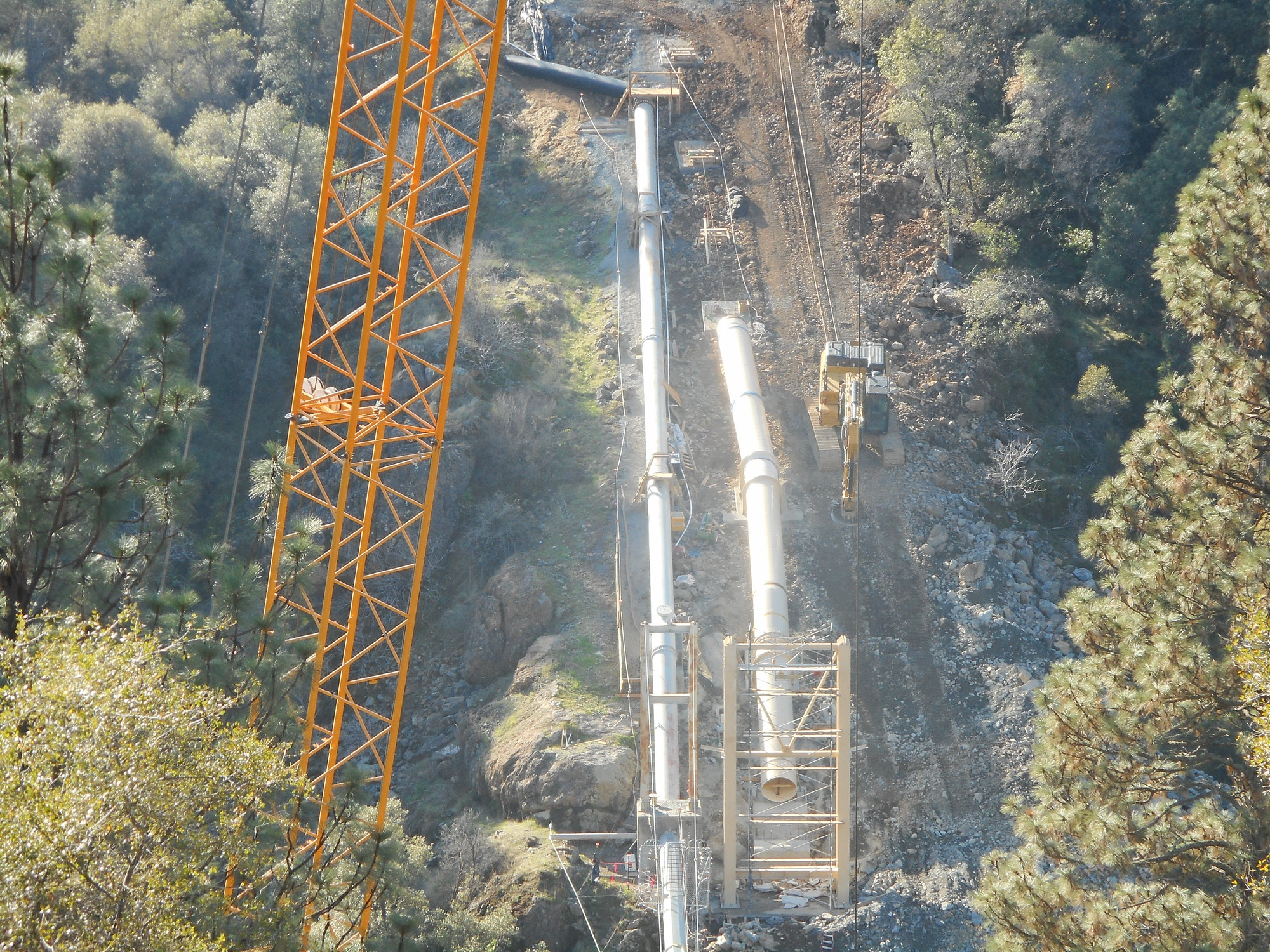 Pipeline, crane, trees, forest, construction