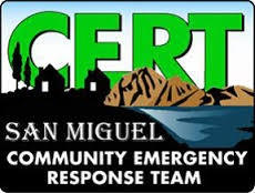 "CERT logo - text reading ""San Miguel Community Emergency Response Team"""