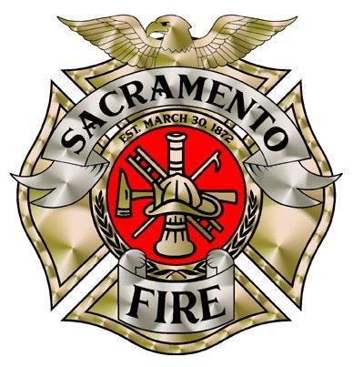 May contain: logo, Sacramento City Fire, Gold logo