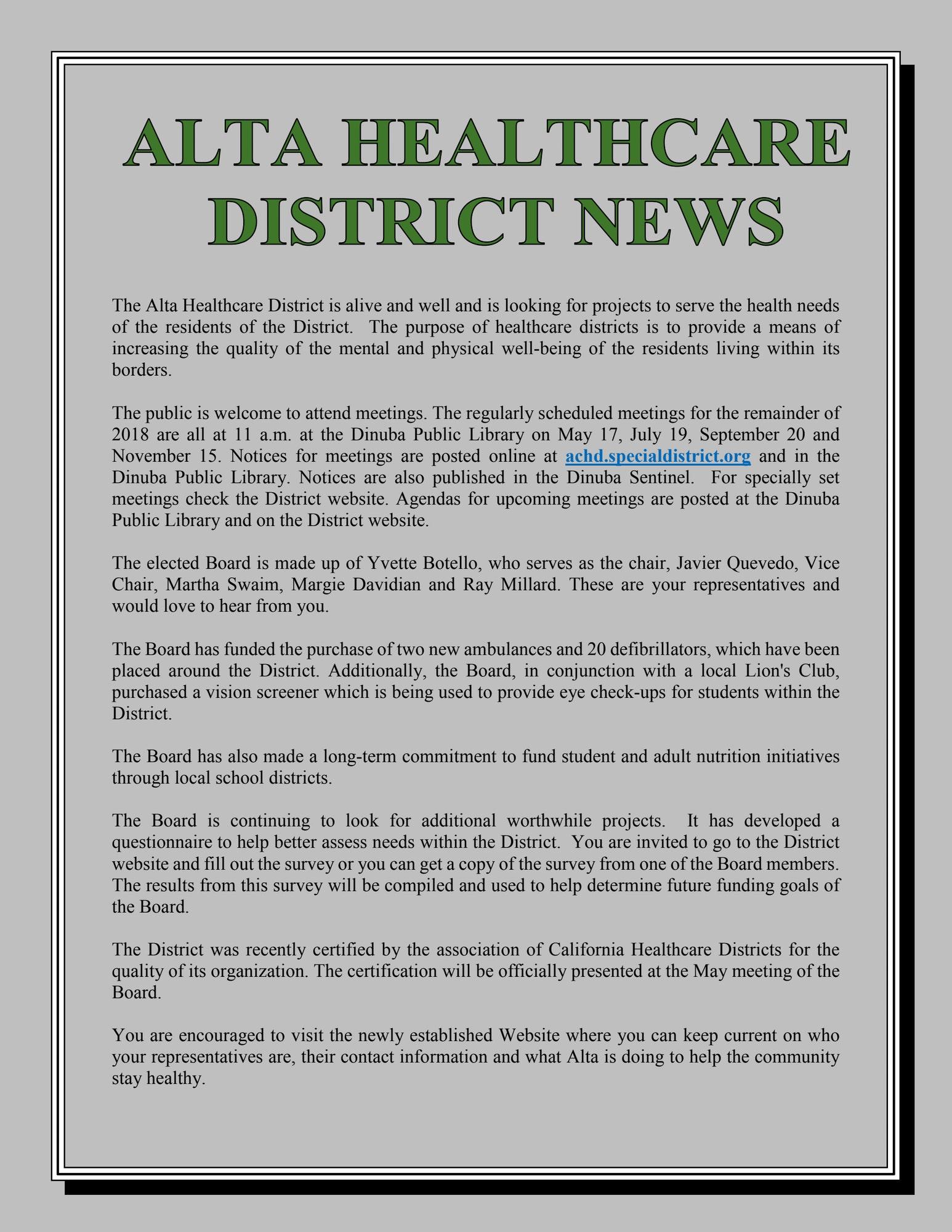 News Alta Healthcare District