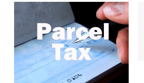 Parcel Tax text, with a check background