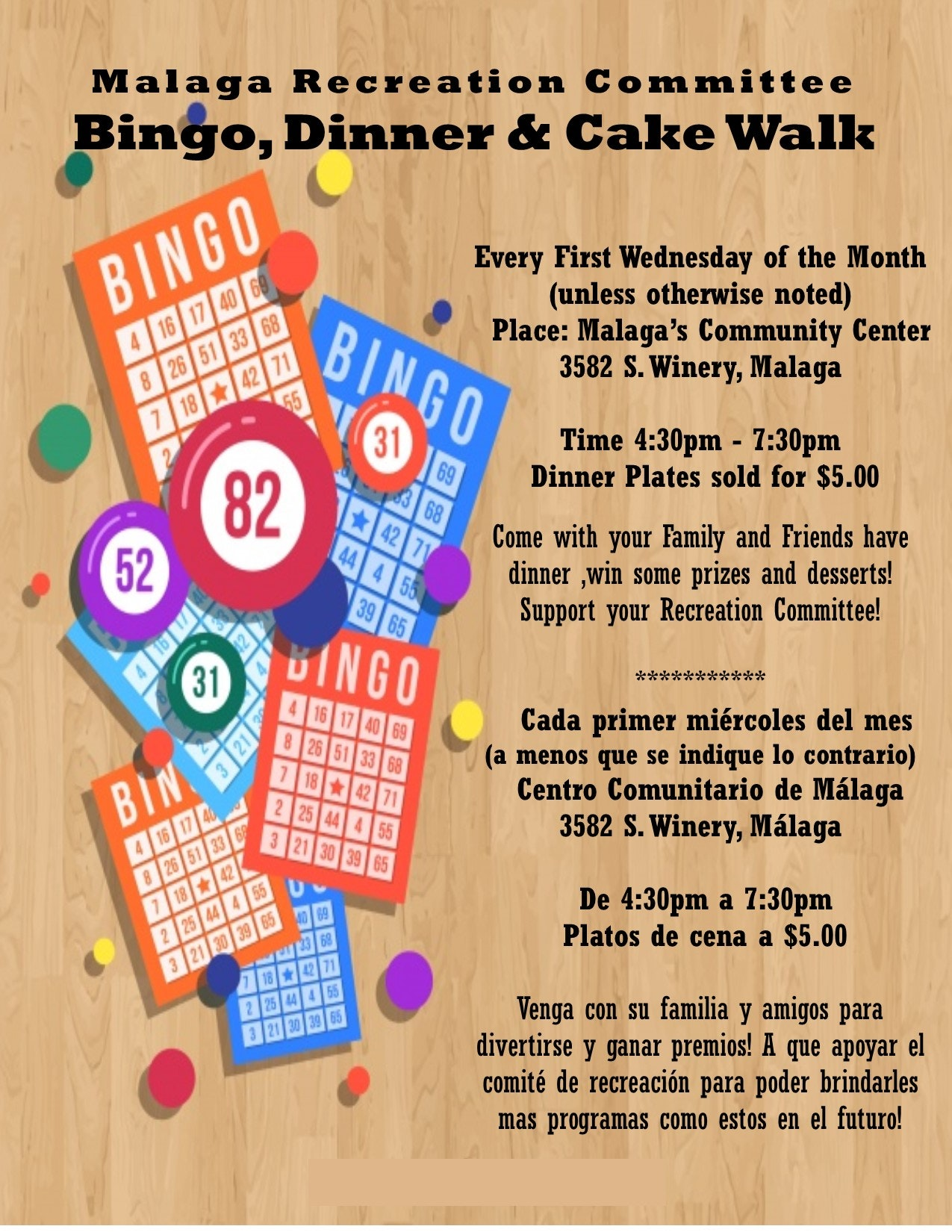 Family bingo cancelled until construction at the recreation center is complete.