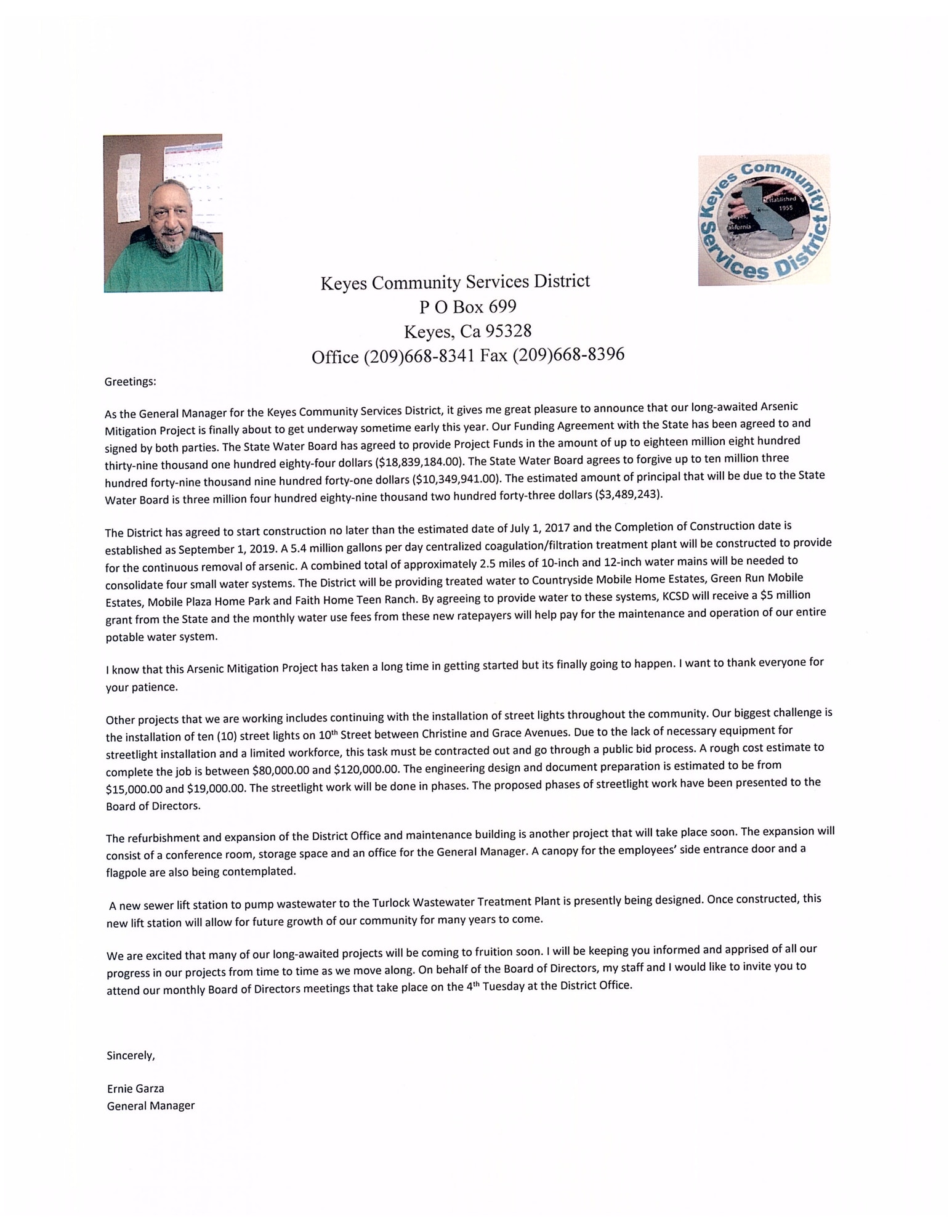 keyes community services district general manager letter to the community of keyes