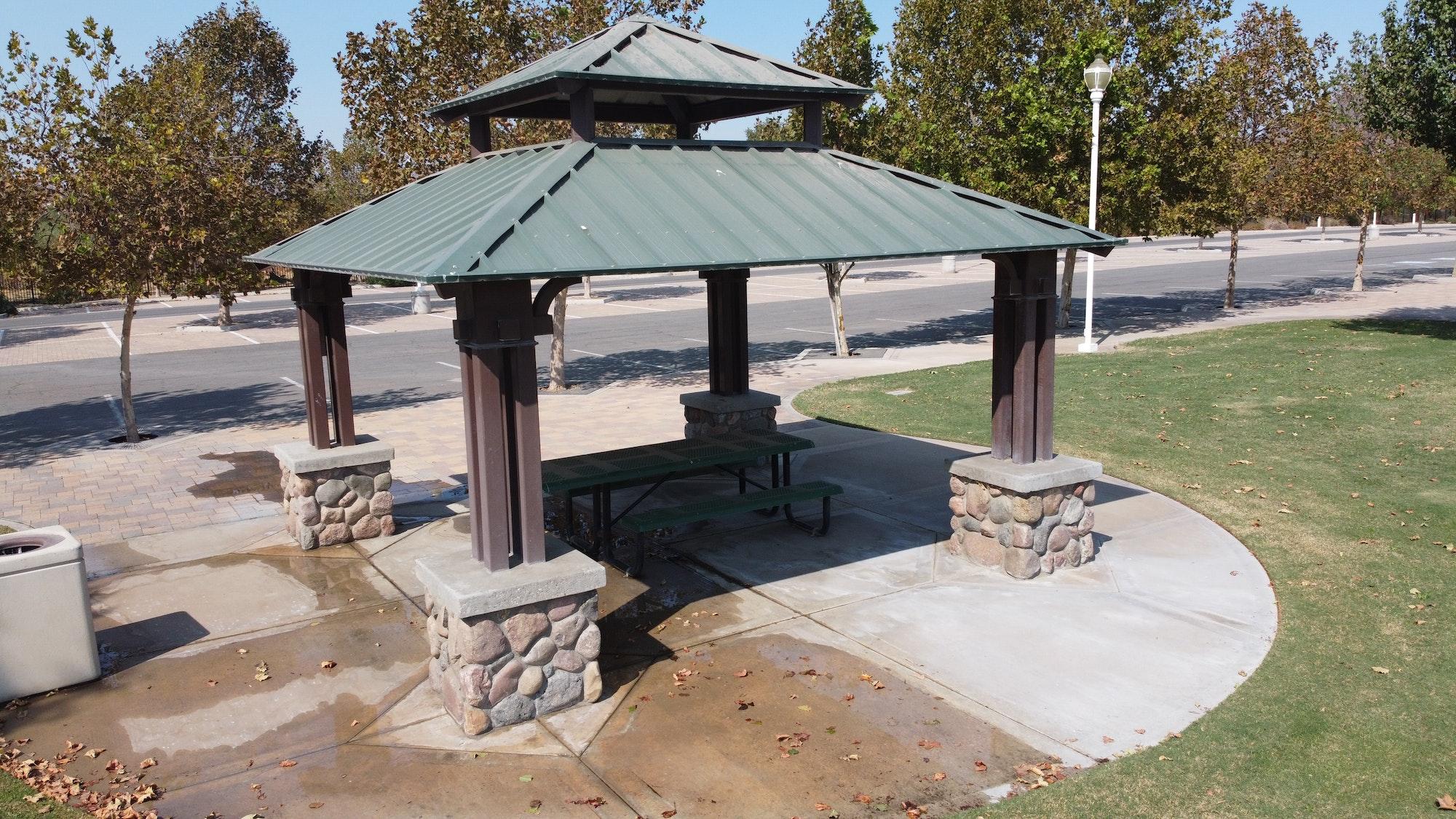 May contain: flagstone, patio, and gazebo