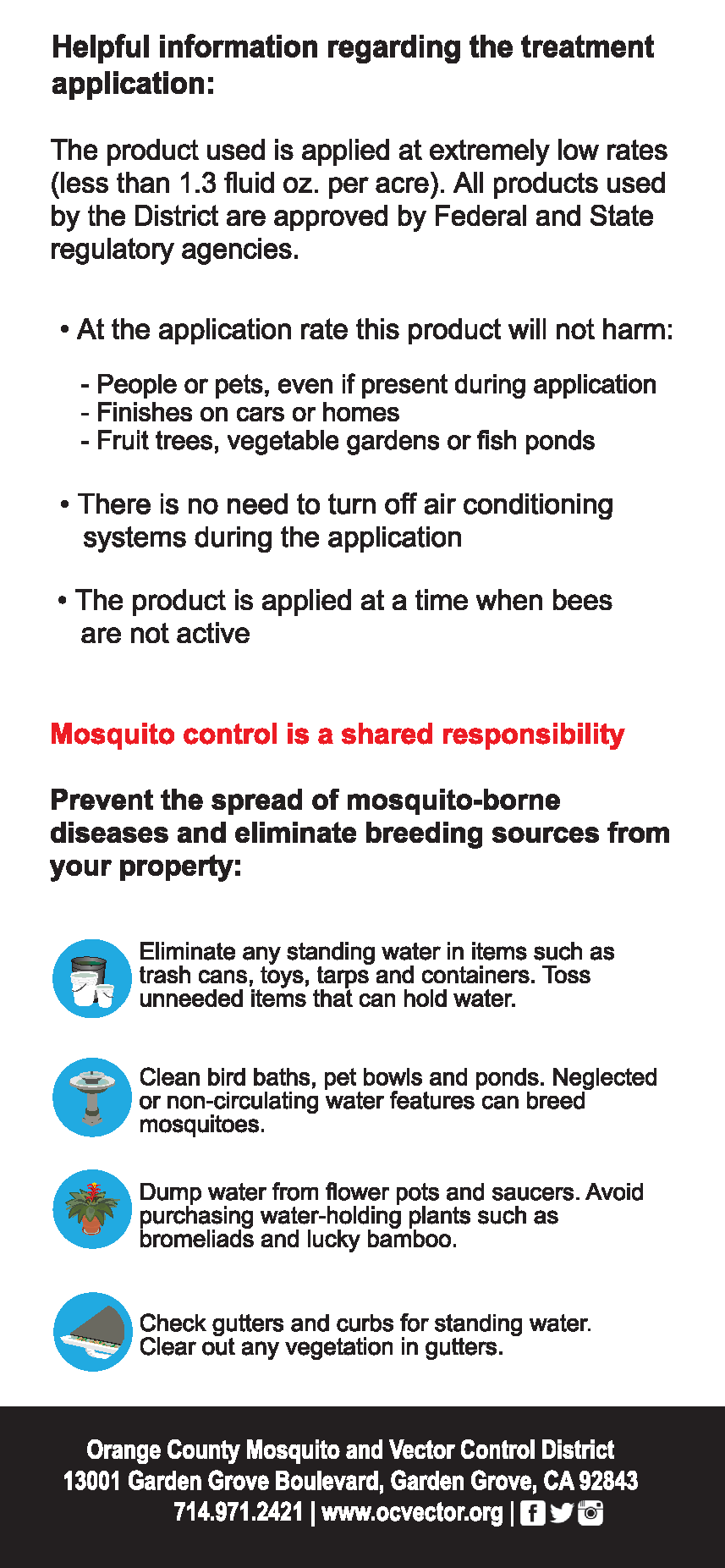 Door Hanger to Notify Residents of Adult Mosquito Control Tips on how to prevent mosquitoes
