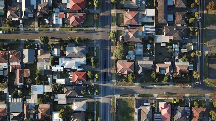 May contain: urban, neighborhood, building, nature, outdoors, landscape, scenery, road, suburb, and aerial view