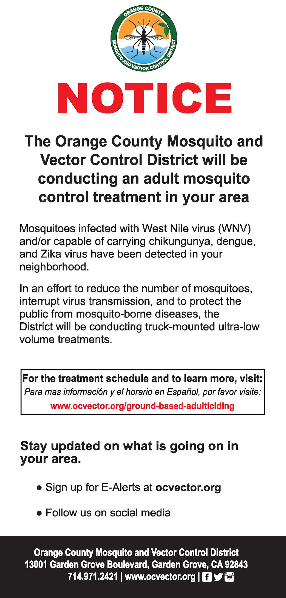 Door Hanger to Notify Residents of Adult Mosquito Control
