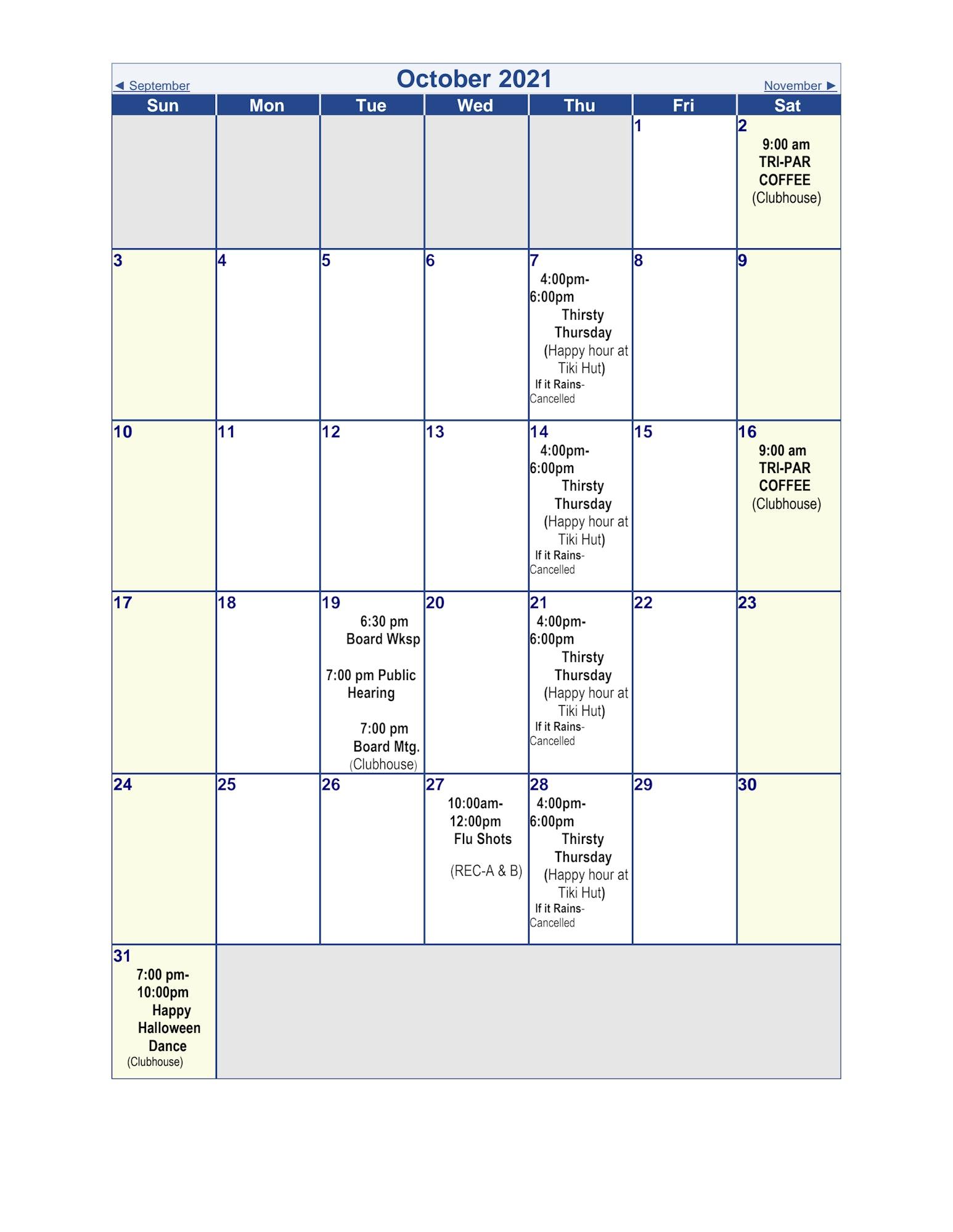 October 2021 event calendar