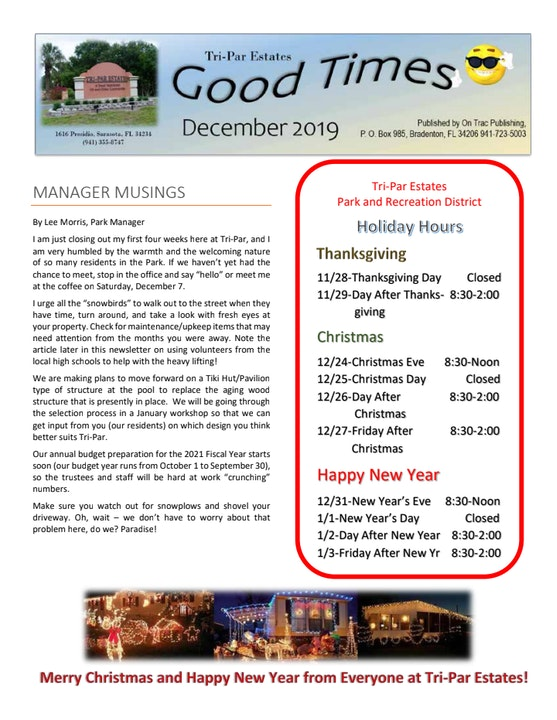 cover of our december 2019 newsletter