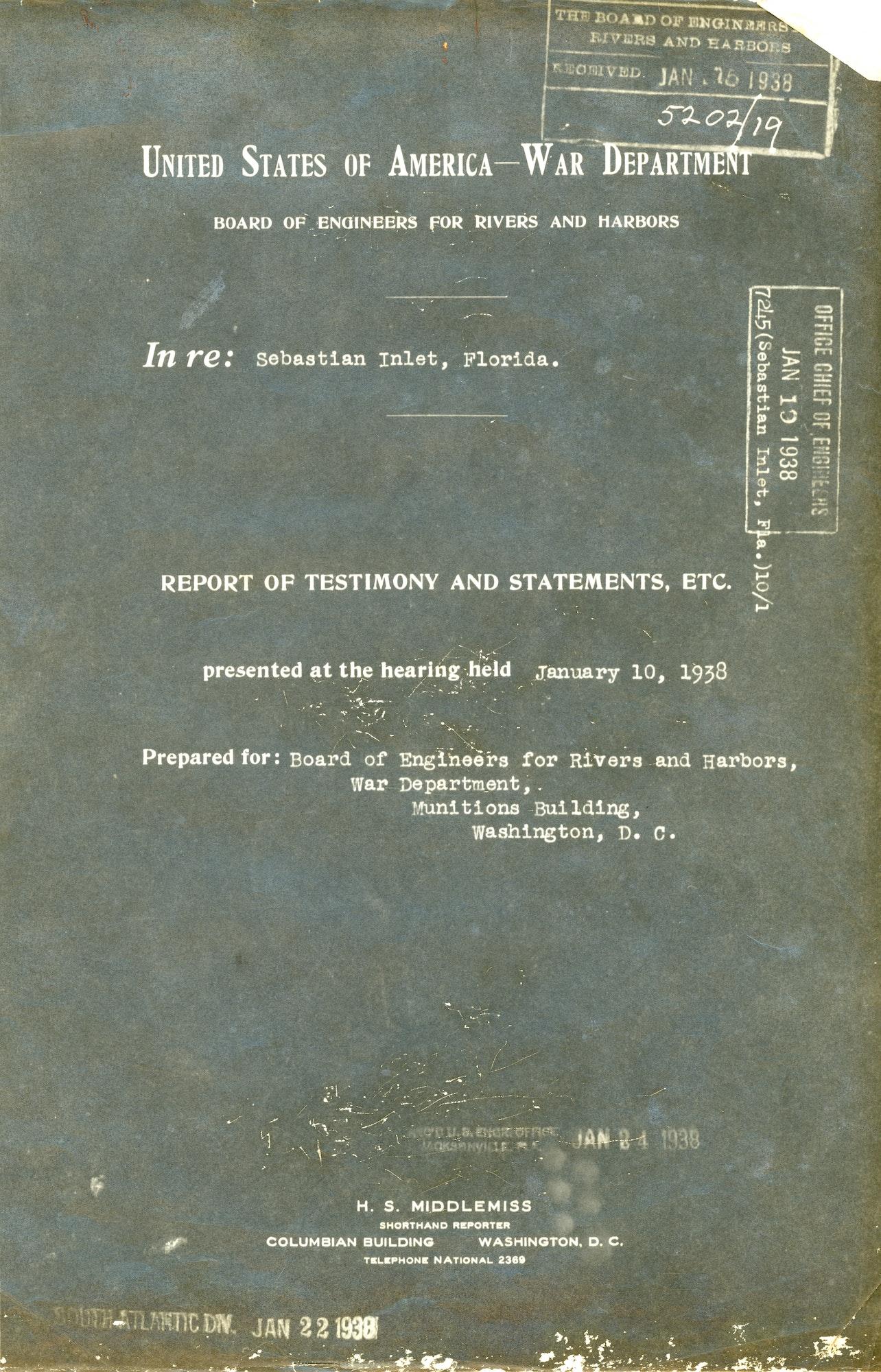 Cover of a 1938 War Department transcript