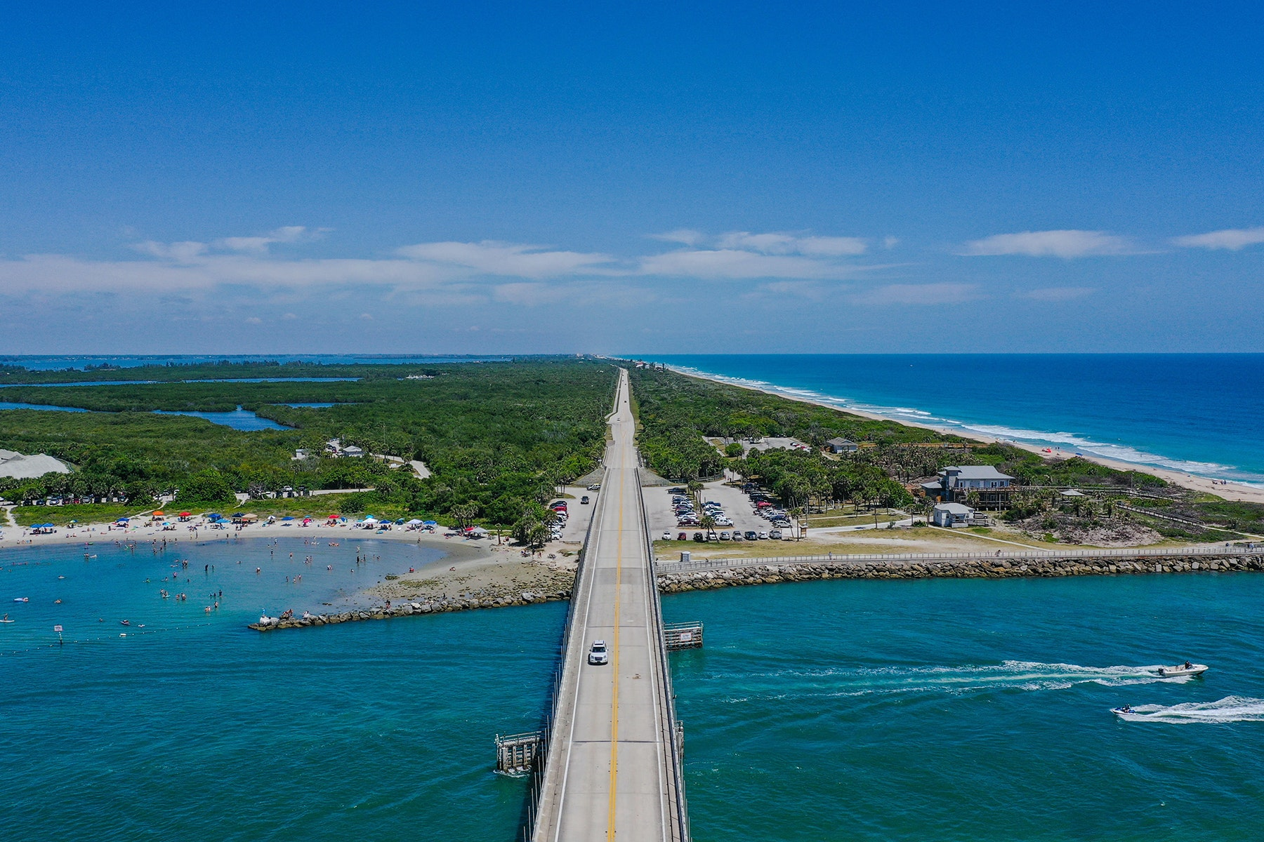 Aerial view of Sebastian Inlet over bridge looking North