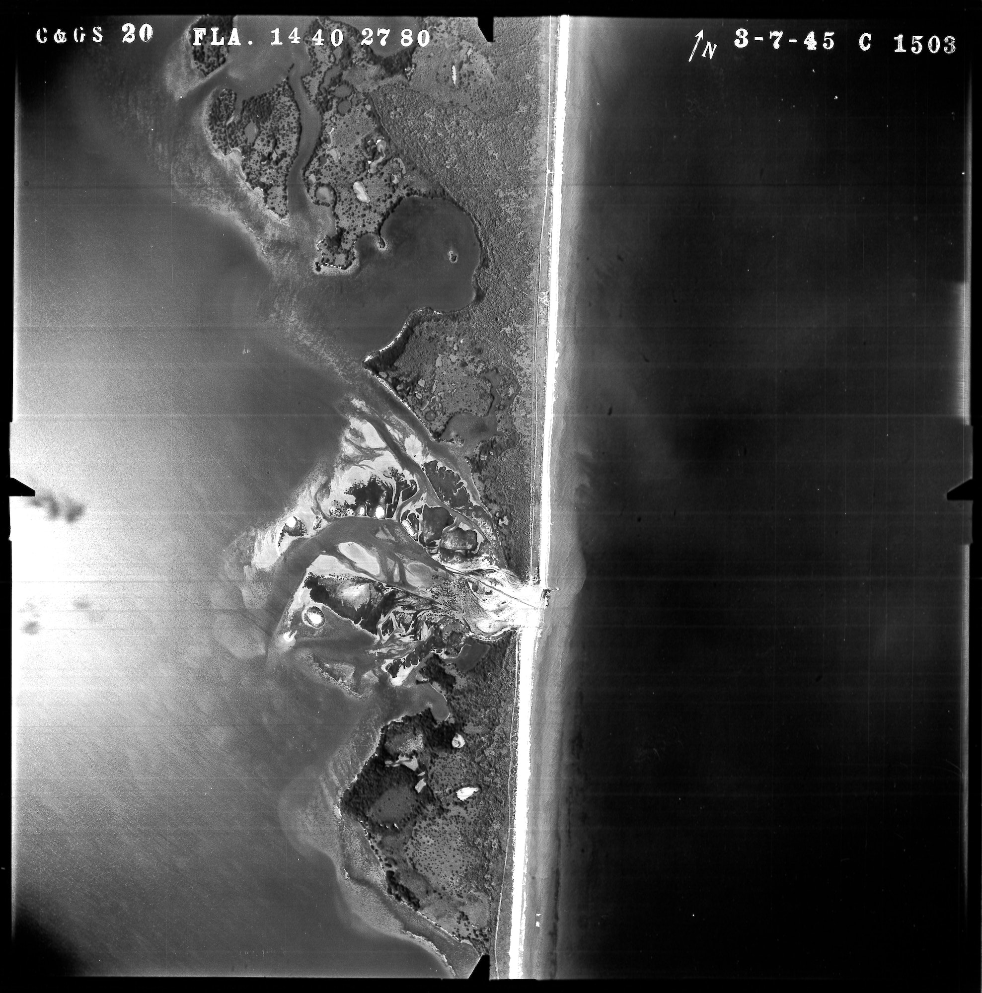 high altitude aerial of the Sebastian Inlet and surroundings, looking straight down, from March 1945