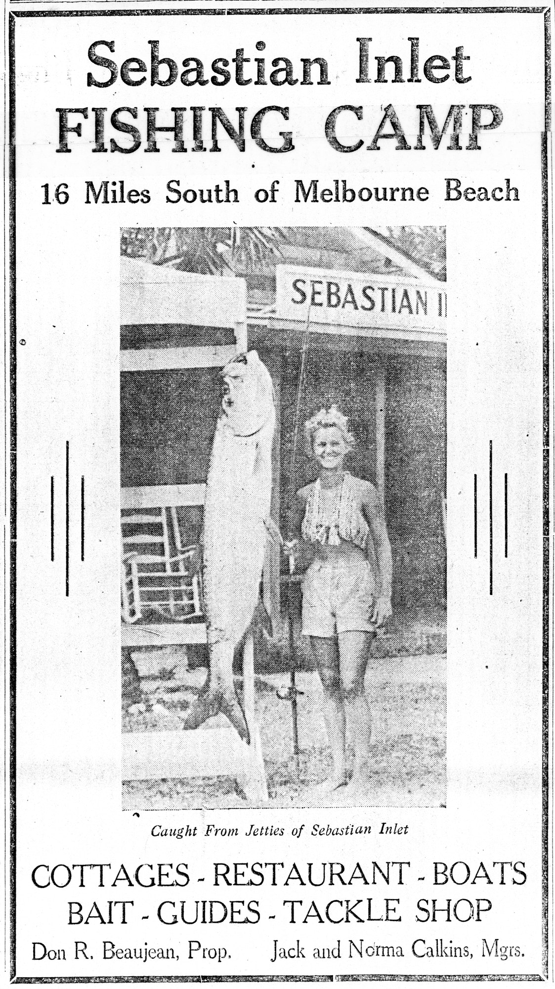 newspaper ad for Sebastian Inlet Fish Camp showing a woman with a large fish