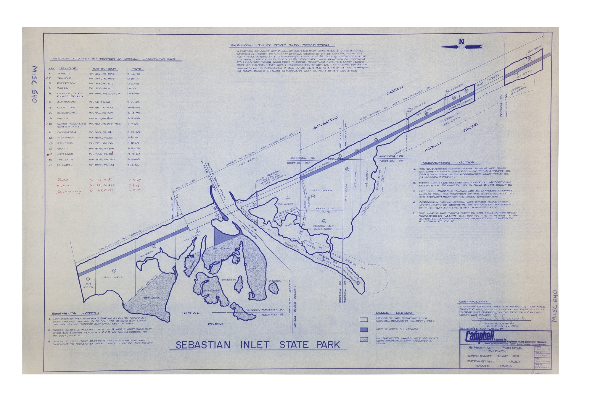 blueprint map of easements and land acquired for Sebastian Inlet State Park