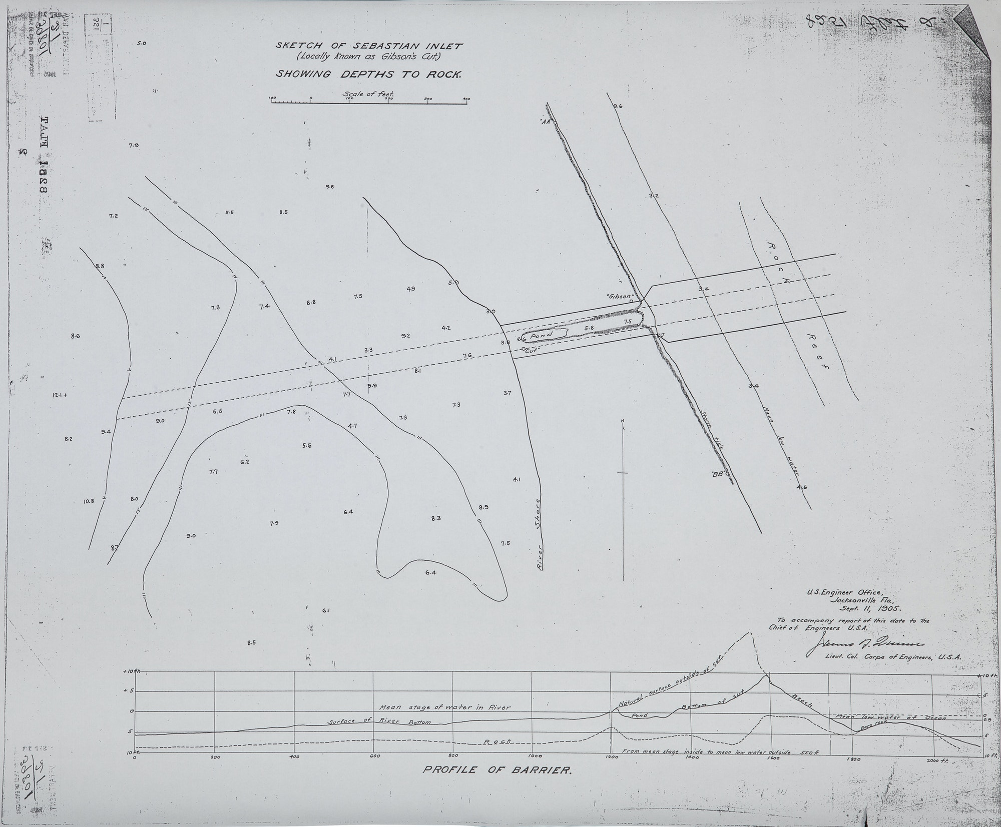 Hand-drawn bathymetric survey of inlet depths from 1905 US Army Corps of Engineers, Jacksonville division