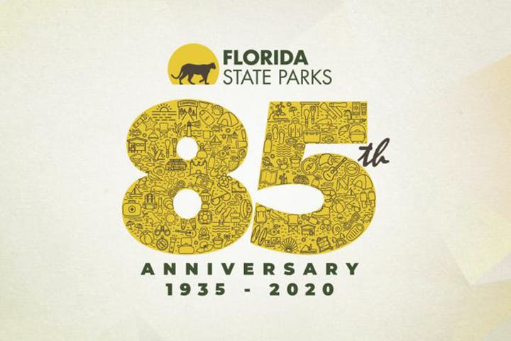 graphic logo with text-Florida State Parks 85th anniversary-1935-2020