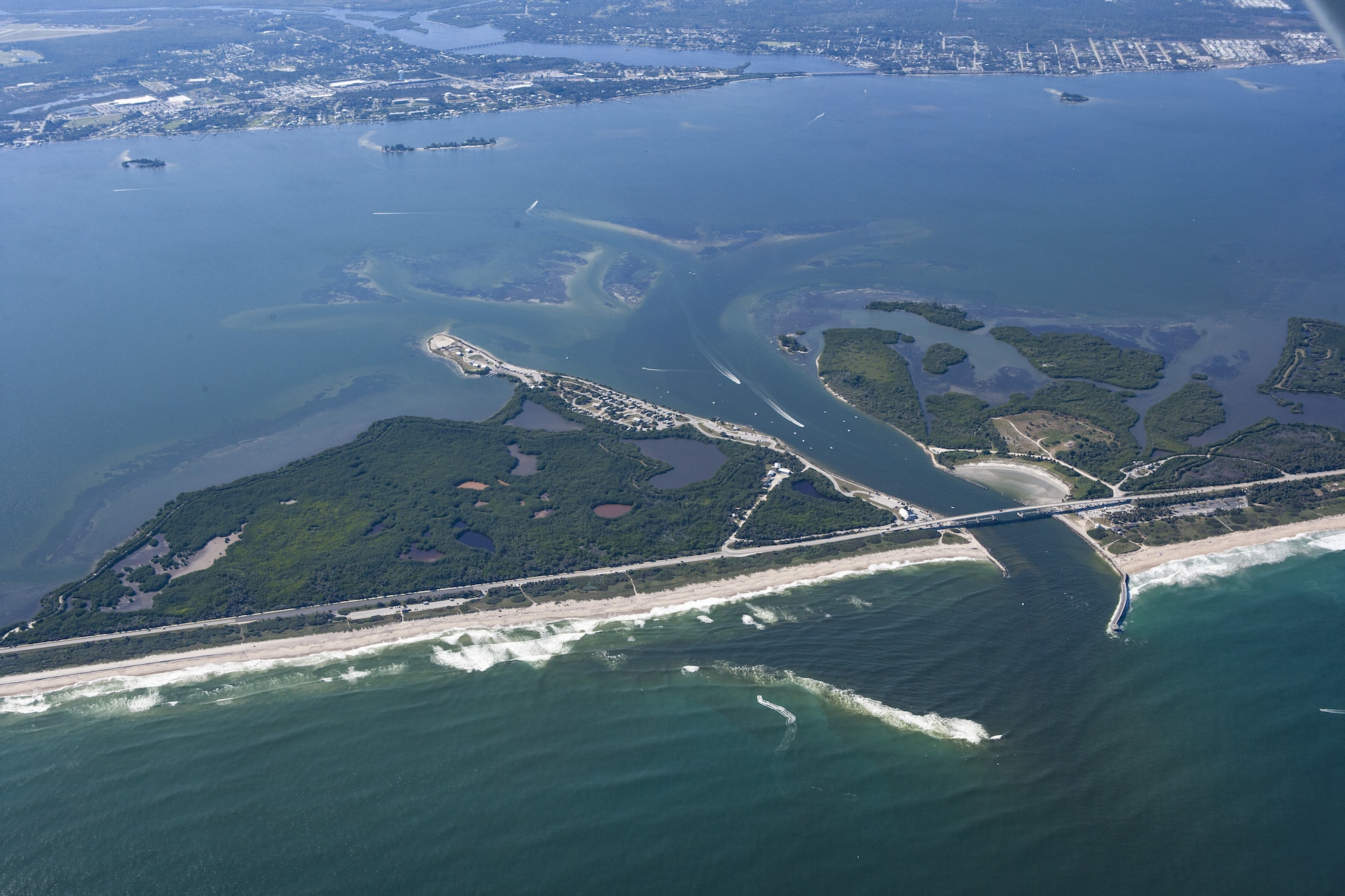 aerial view of Sebastian Inlet looking West