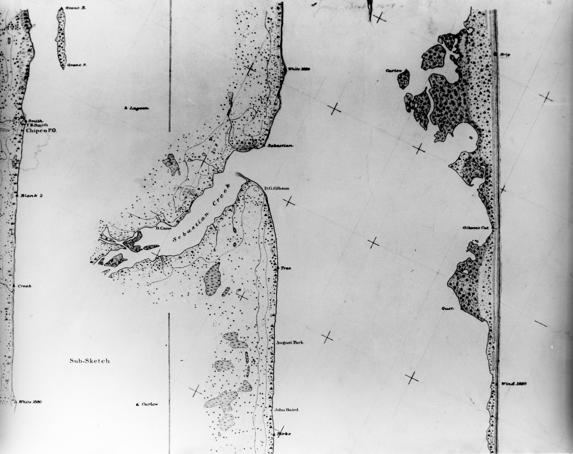Hand-drawn U.S. Geodetic Survey Map 1880-1881 showing Sebastian Creek, the lagoon and the barrier island