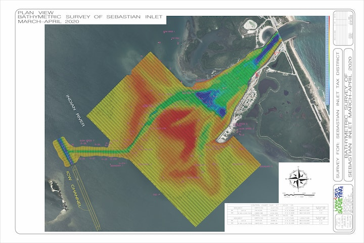 aerial map of inlet showing water depths