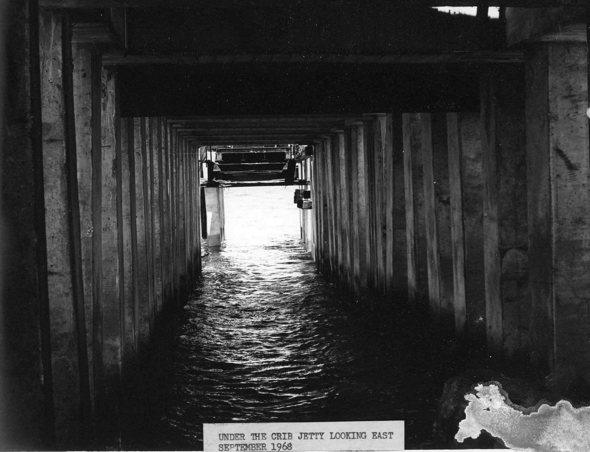 underneath the north jetty crib structure in September 1968