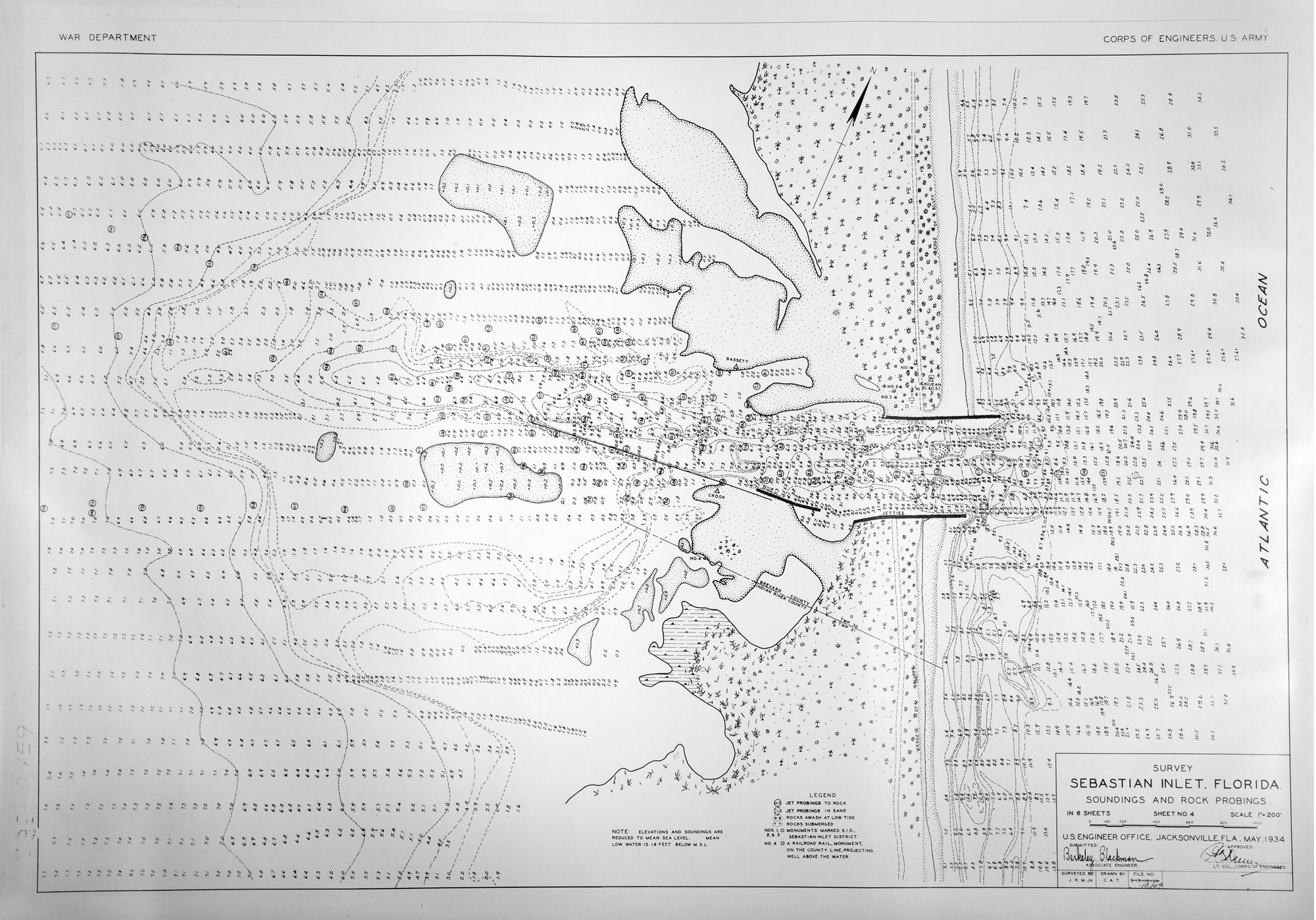 A May 1934 bathymetric survey of the inlet system showing depths, drawn by the US Army Corps of Engineers, Jacksonville.