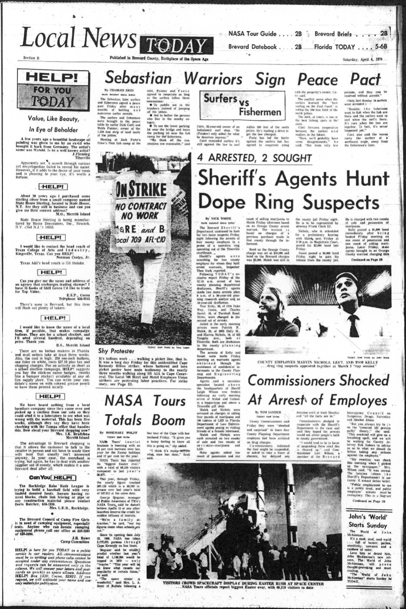 Florida Today Local News page from April 4, 1970