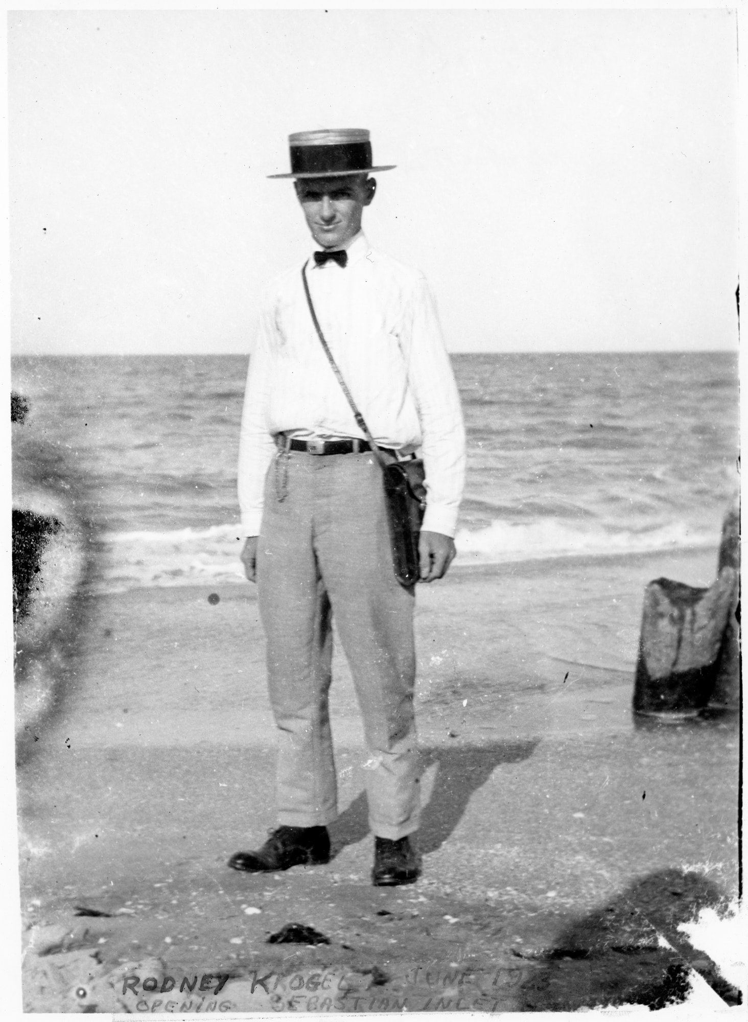 historical photo of Rodney Kroegel in 1923 at beach