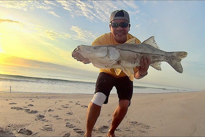 Person holding Snook on beach at sunrise