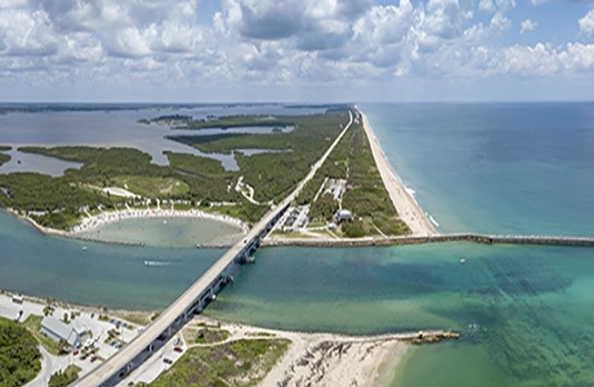 aerial of Sebastian Inlet bridge
