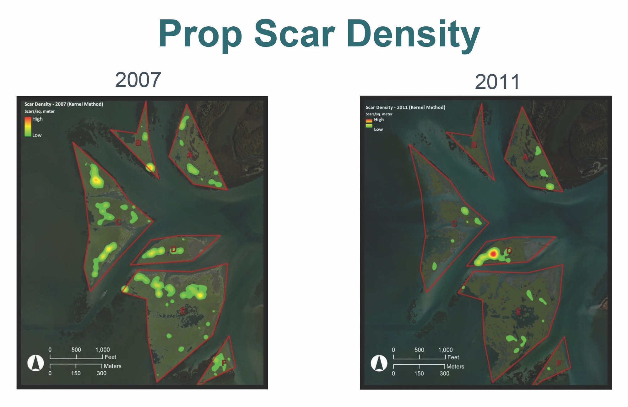 Two comparison images showing reduced prop scars from 2007 to 2011