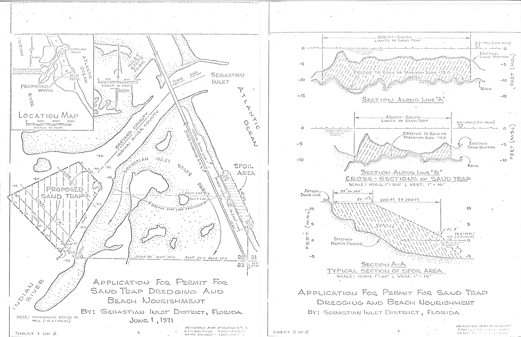 hand drawn map of inlet showing proposed Sand Trap from 1971