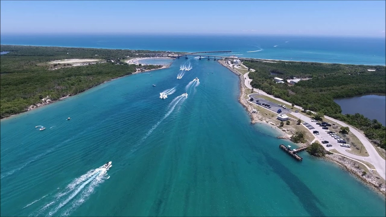 aerial view of Sebastian Inlet looking East