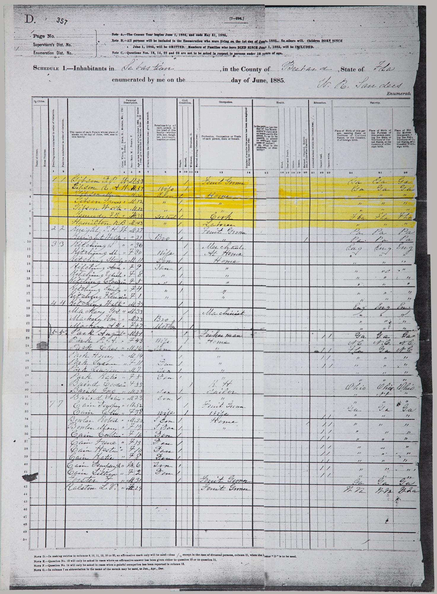 Copy of 1885 Census of Sebastian, Florida