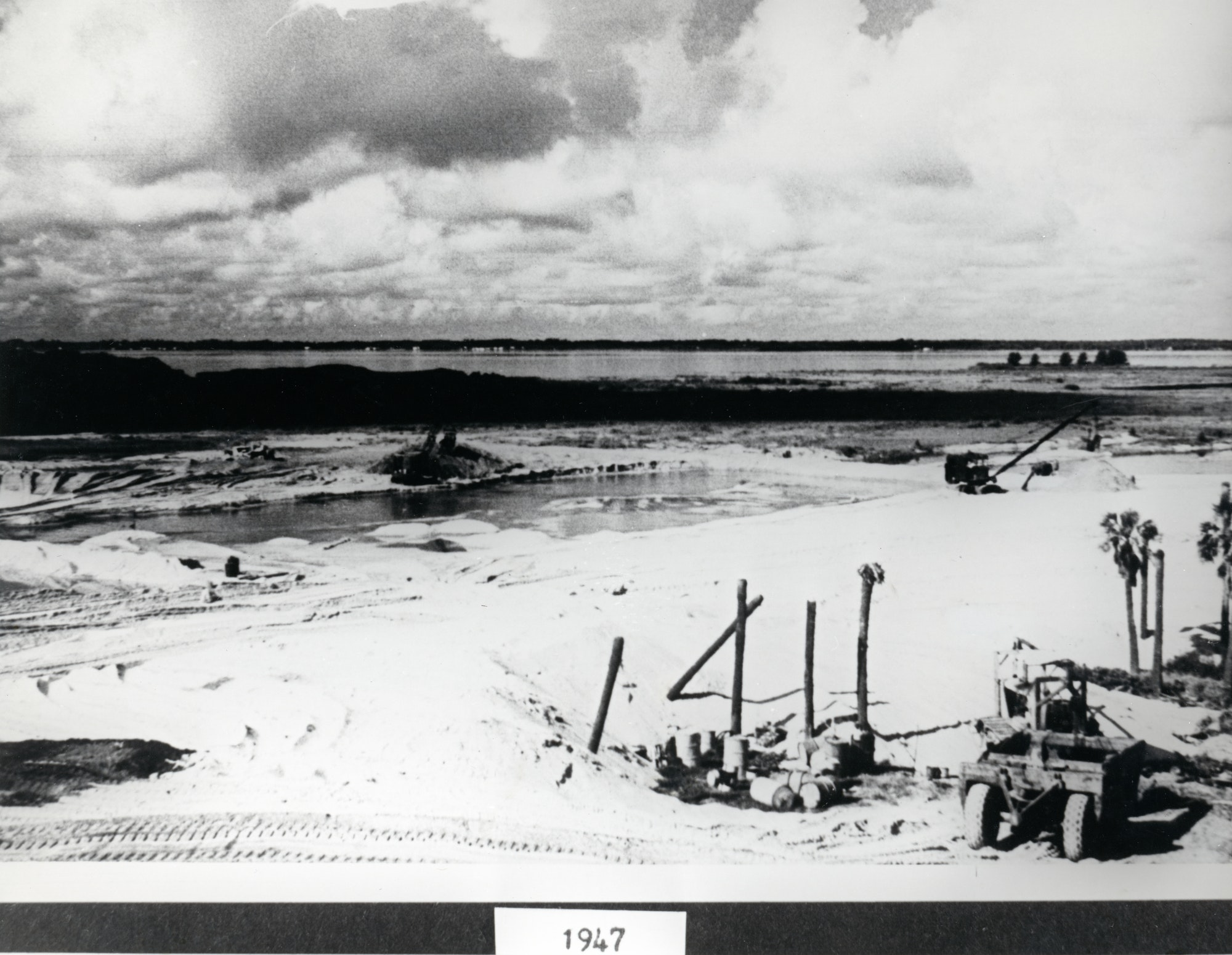 construction equipment staged at the inlet site during 1947