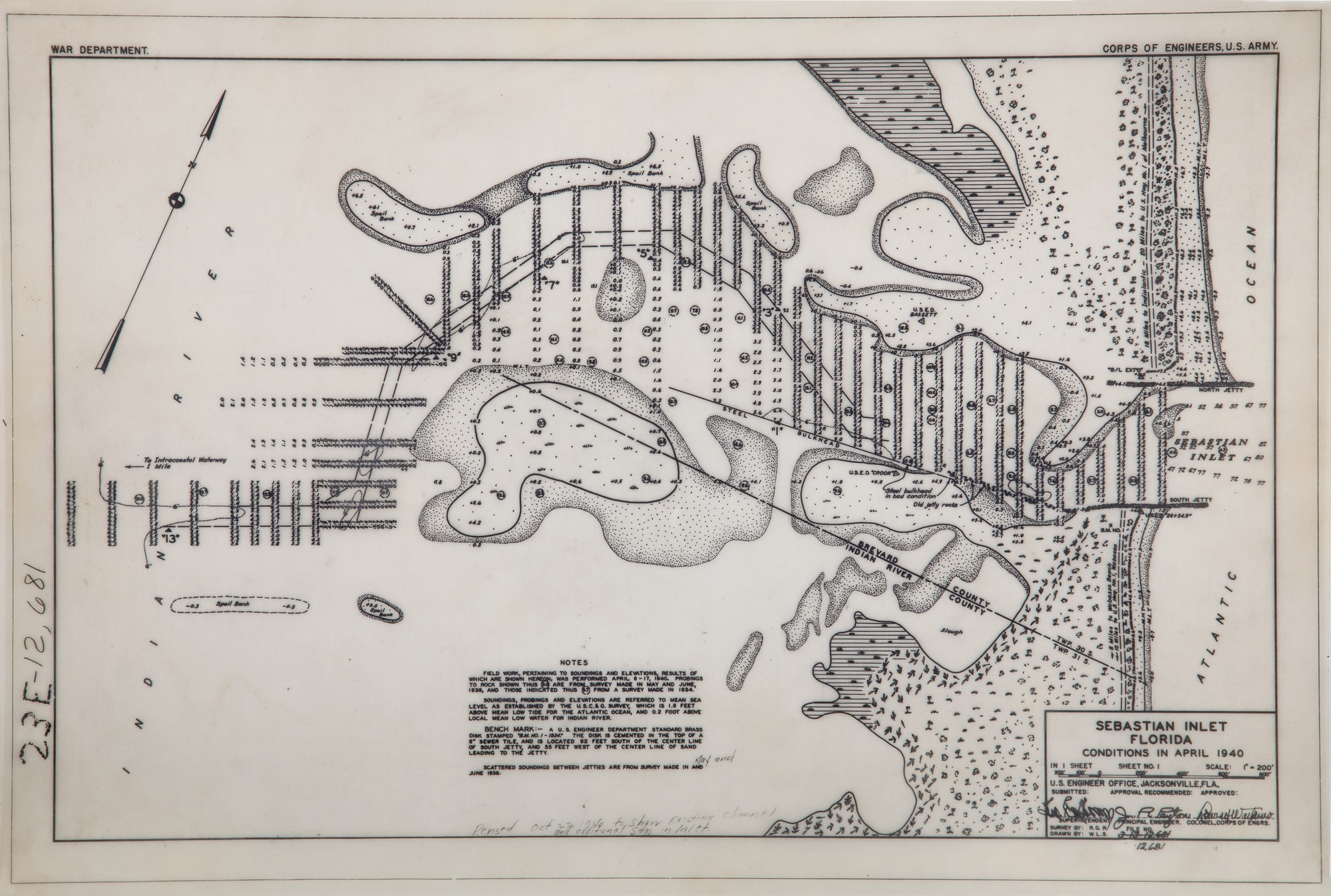 April 1940 hand-drawn bathymetric survey of the entire inlet system
