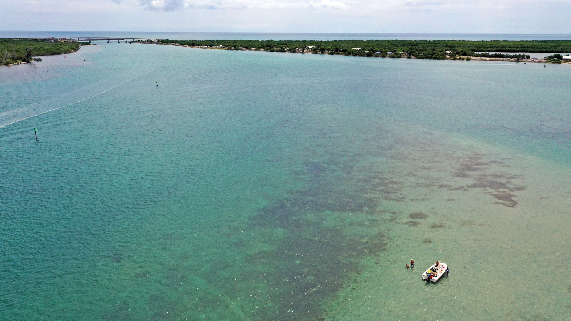 aerial image of flood shoal West of Sebastian Inlet with one boat on sandbar