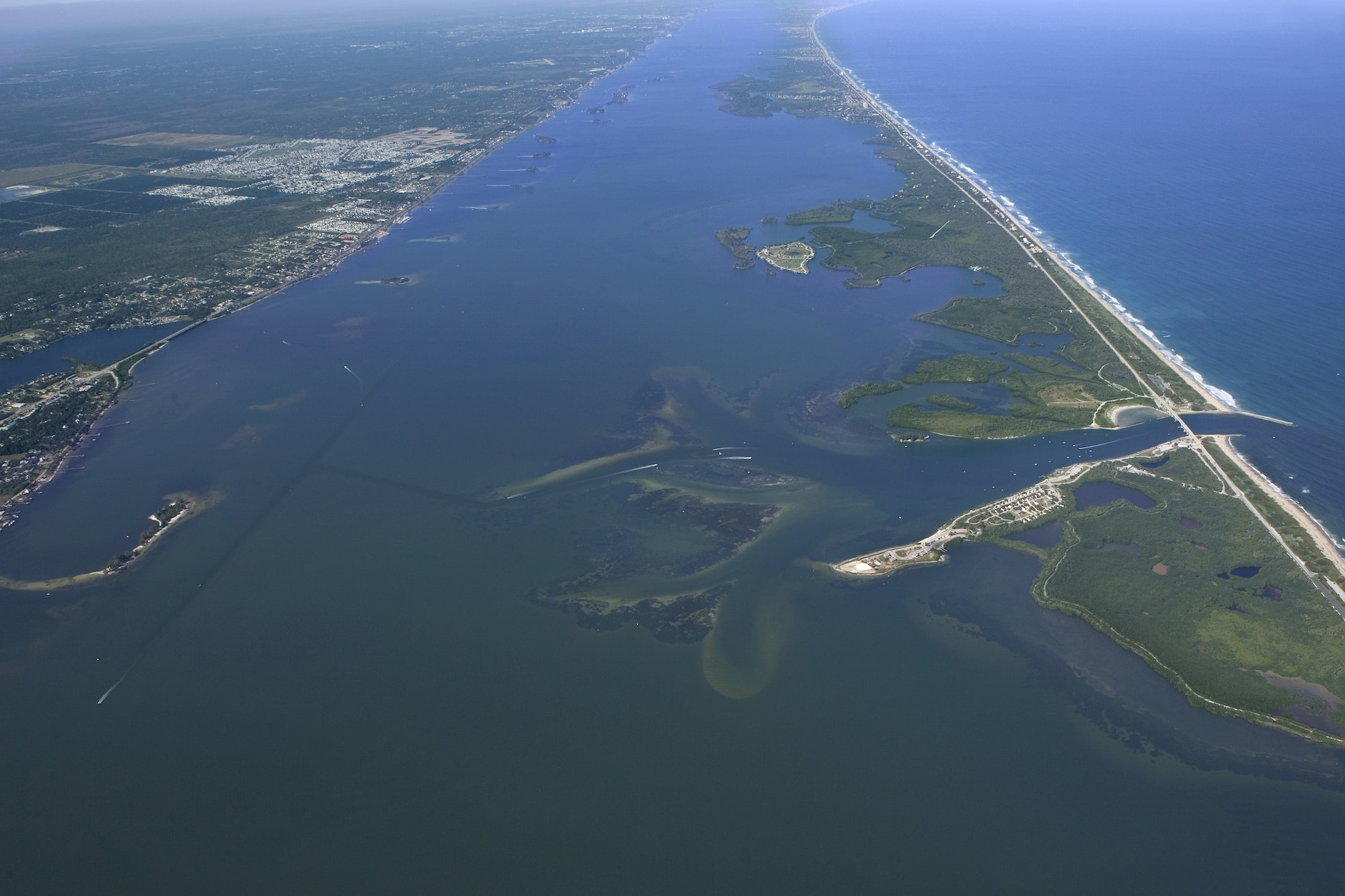 high altitude aerial of indian river lagoon and sebastian inlet looking North
