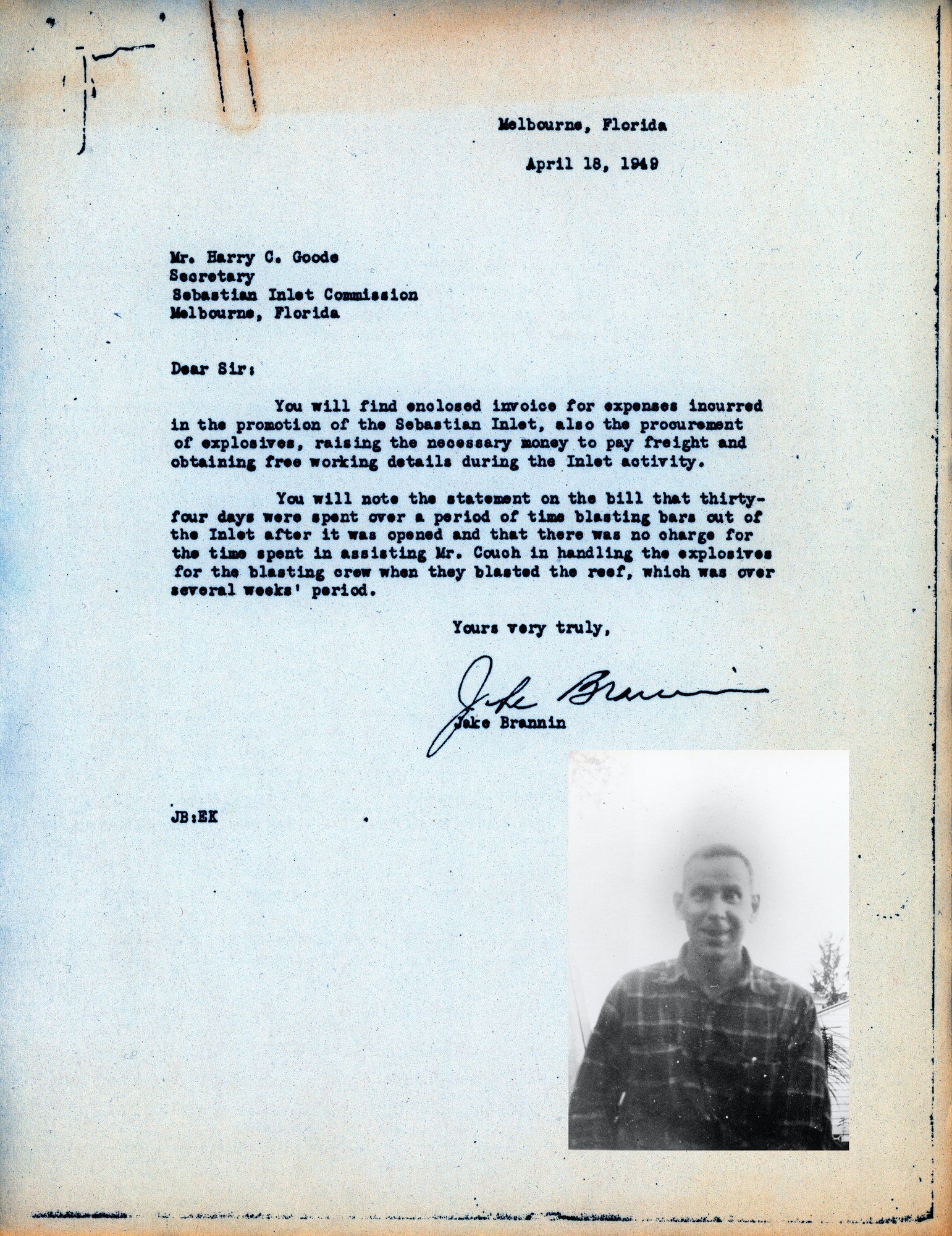 Typewritten and signed letter with image of person who wrote it superimposed under the signature line