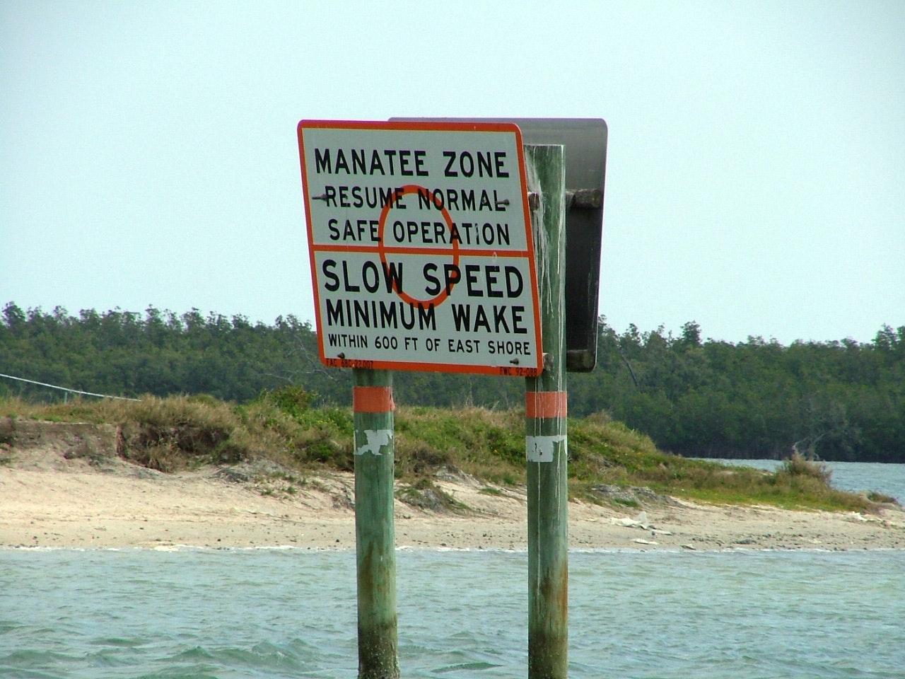 manatee zone marker in channel