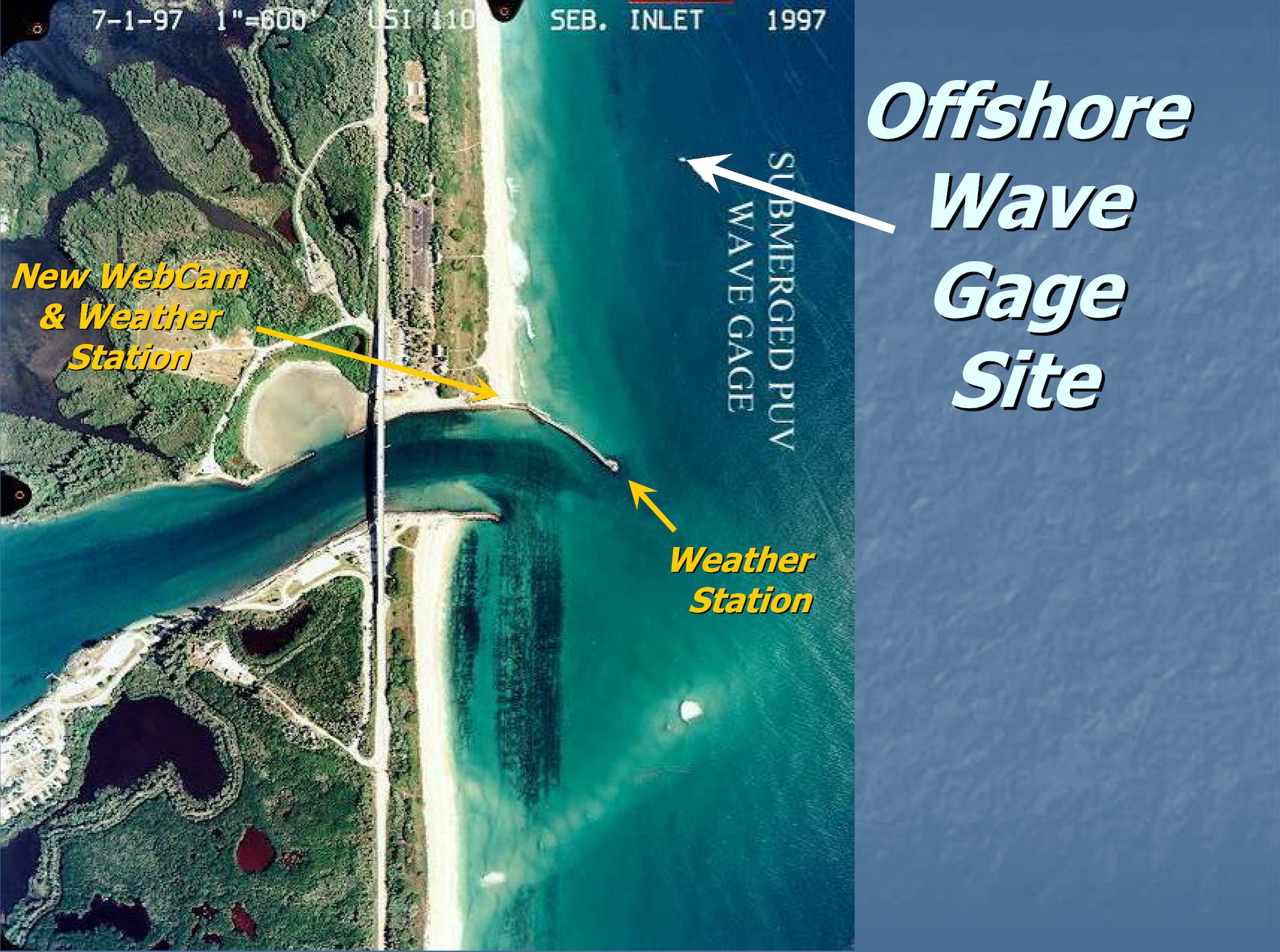 aerial map of inlet looking straight down depicting wave gauge and weather station sites