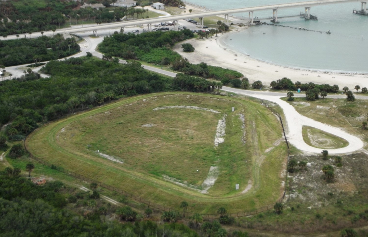 aerial view of completed sand storage area to the North of tide pool