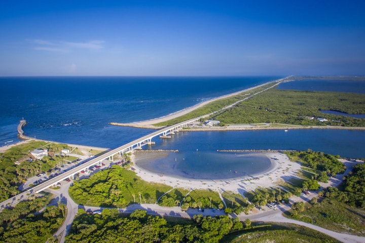 Aerial view of Sebastian Inlet State Park looking South