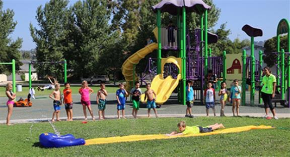 Campers playing at the park