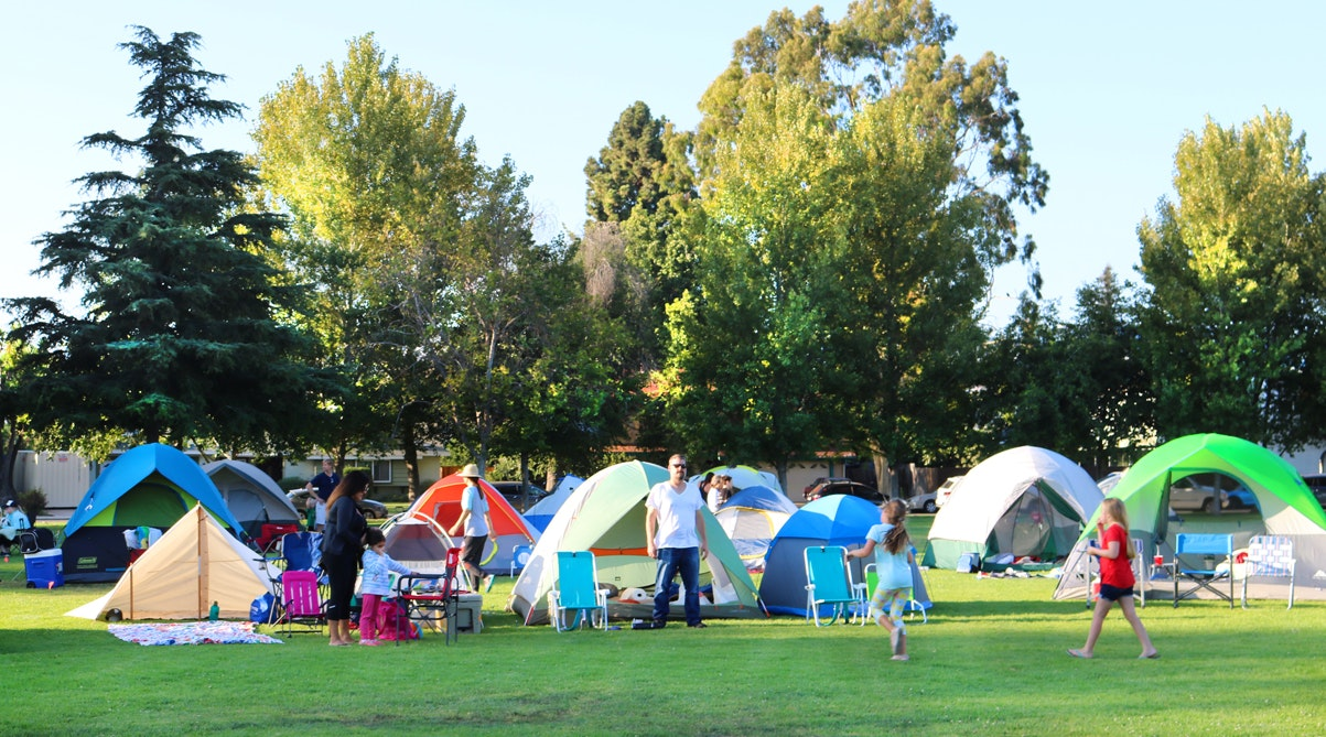 Emd of Summer Campout tents at Community Center Park