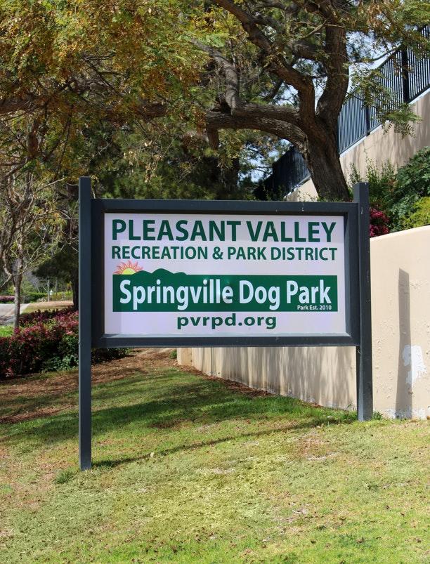 Springville Dog Park sign