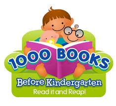 "Graphic of a man with a toddler and baby on his lap while holding a purple book with the words ""1000 Books Before Kindergarten. Read It and Reap!""."